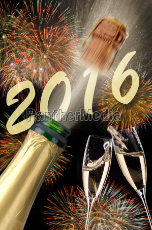 new year 2016 with champagne flying