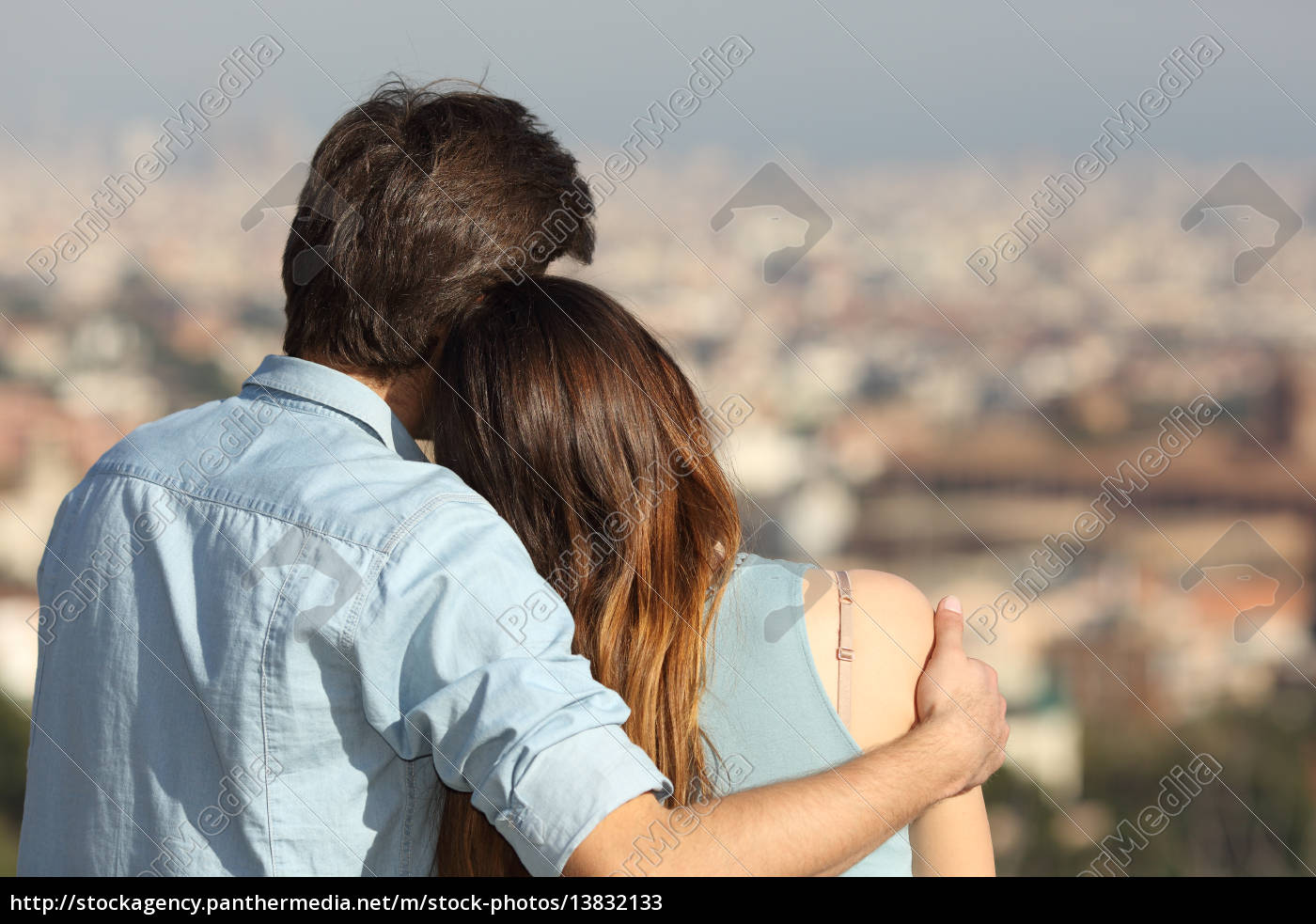 Couple Dating In Love And Hugging Watching The City Royalty Free