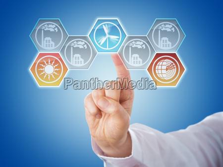finger pushing hexagonal renewable energy icons