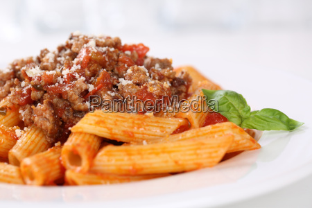 penne bolognese or bolognaise sauce noodles