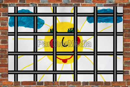prisons window with bars and childrens