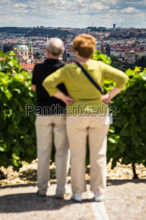 couple of elderly tourists admiring the