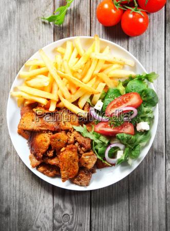 tasty main dish with steak fries