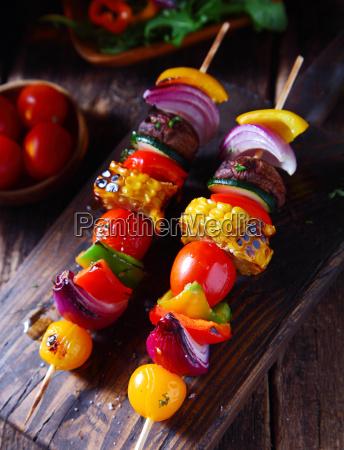 colorful, vegan, vegetable, skewers - 13840867