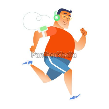 fat man does running listening music