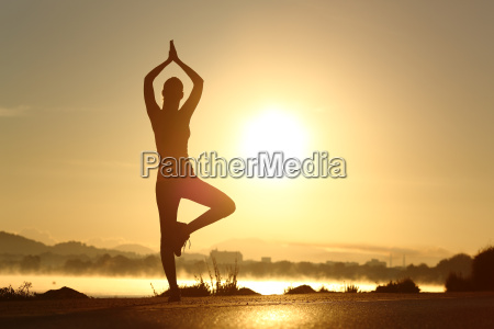 silhouette of a fitness woman exercising