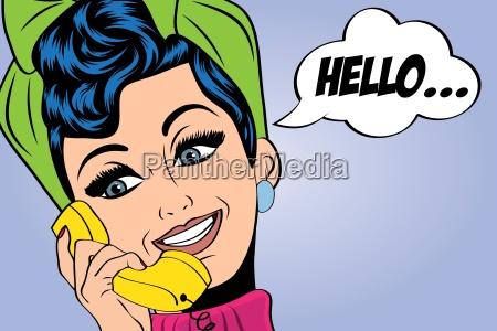 pop, art, cute, retro, woman, in - 13845041