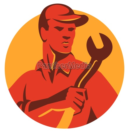 mechanic tradesman spanner circle retro