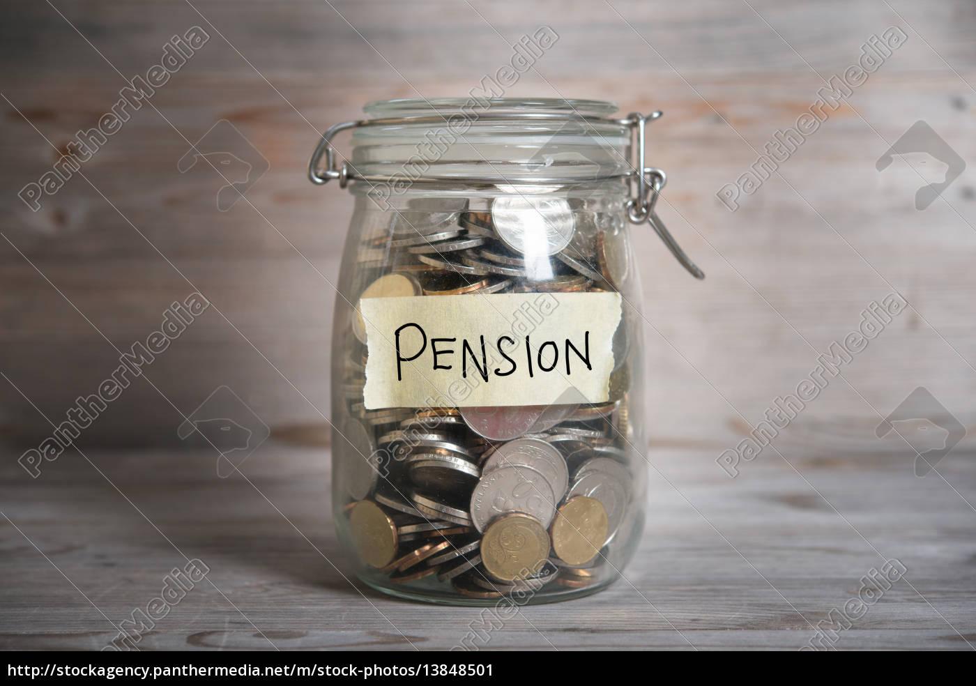 money, jar, with, pension, label. - 13848501