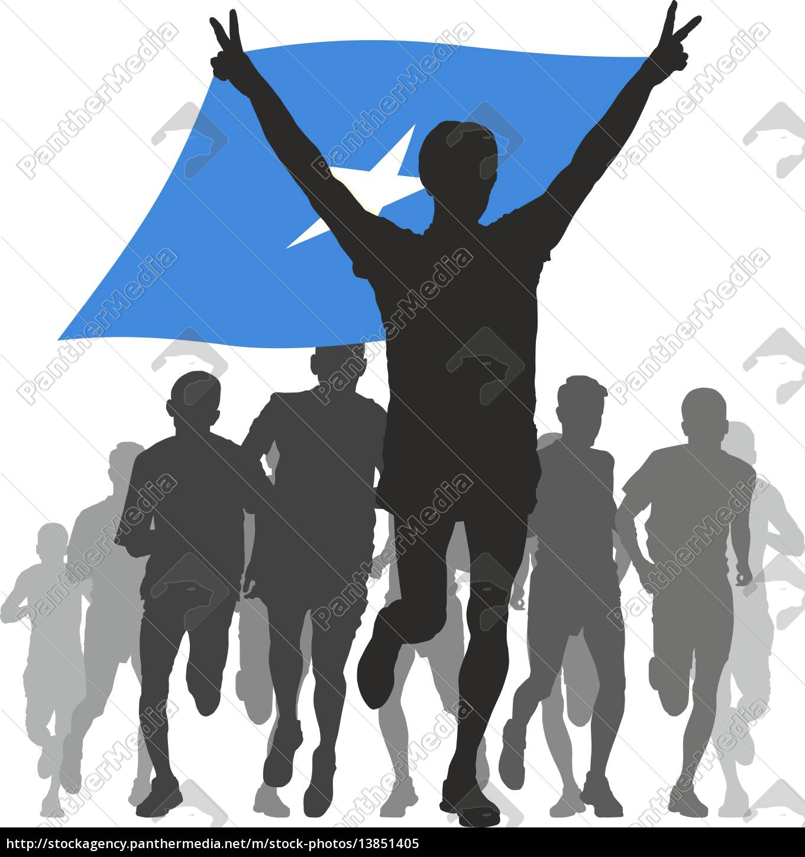 athlete, with, the, somalia, flag, at - 13851405