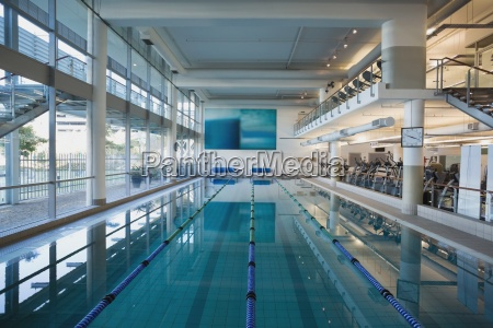 empty swimming pool with large windows