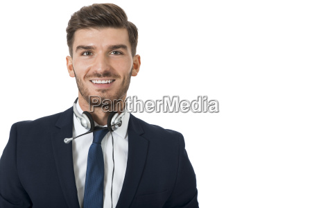 young bearded man suit and headset