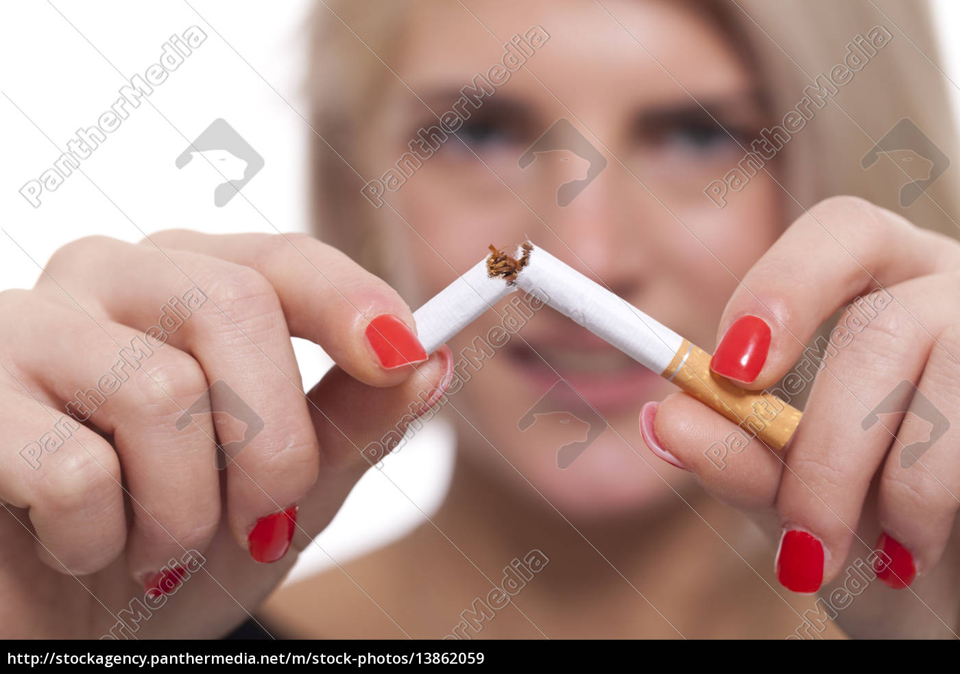 young, blonde, woman, breaks, a, cigarette - 13862059