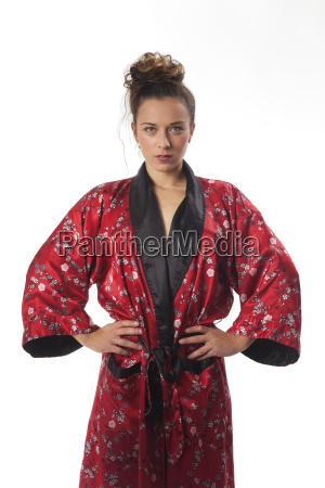 slim woman in a kimono on