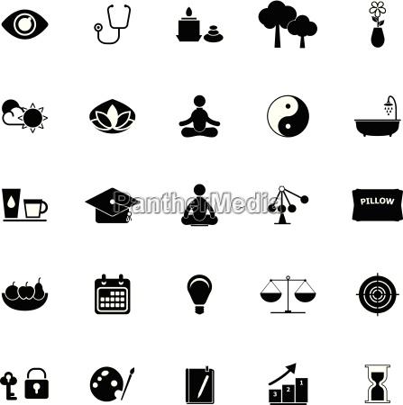 meditation icons on white background