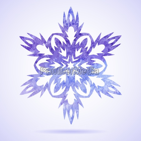 watercolor blue painted christmas snowflake