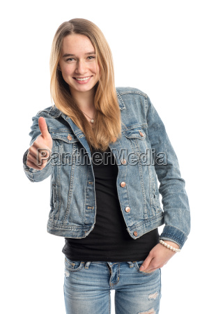 blonde girl in jeans shows thumbs