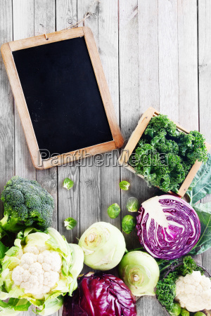 fresh assorted vegetable with chalkboard