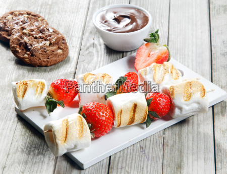 grilled strawberry and marshmallow on stick