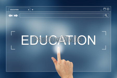hand press on education button on
