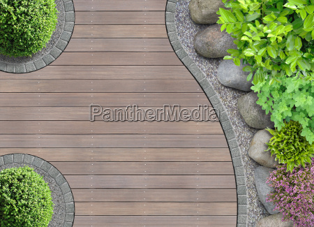 garden architecture detail from above with