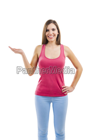 beautiful woman pointing to something