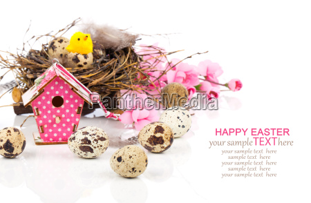 easter decoration on white background with