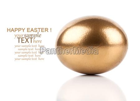golden eggs on white background