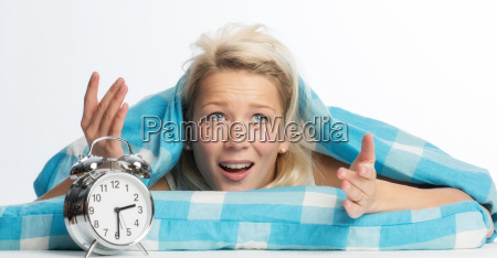 woman with sleep problems is annoyed