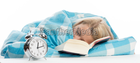 young woman has fallen asleep while