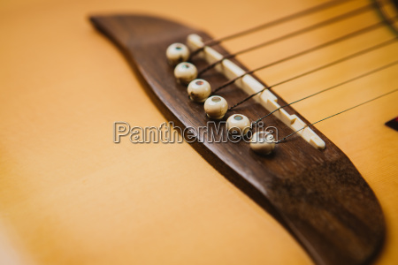 macro shot down the fretboard of