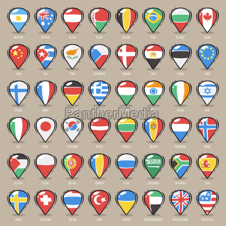 set of cartoon map pointers with