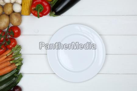 healthy vegetarian diet vegetables with empty