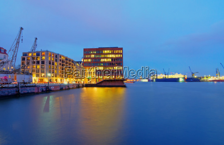 docks and office buildings on the
