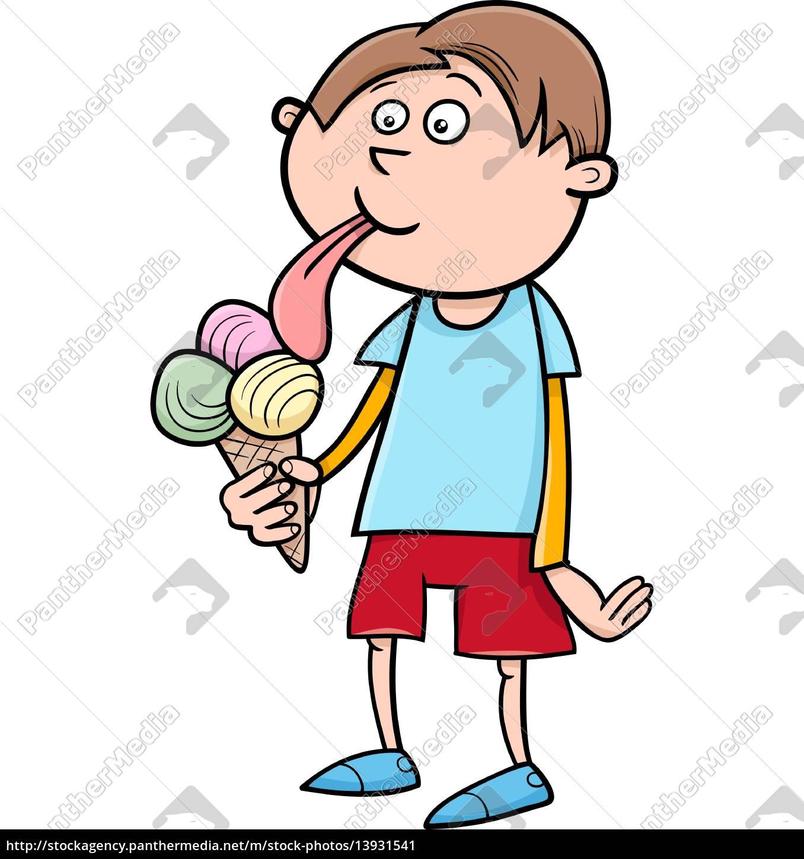 boy, with, ice, cream, cartoon - 13931541