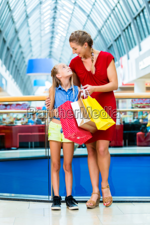mother and daughter in department store