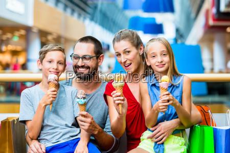 family eating ice cream in bag