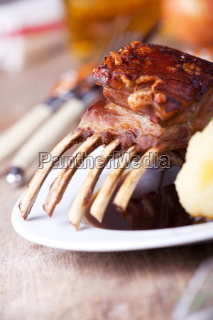 closeup of suckling pig