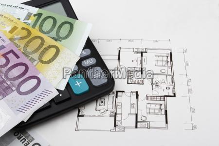real estate concept with euros eur