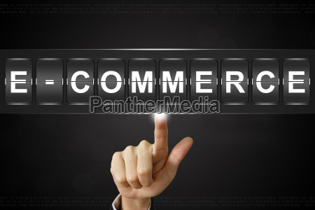 business hand clicking e commerce on