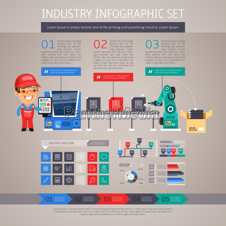 industry infographic set with factory conveyor