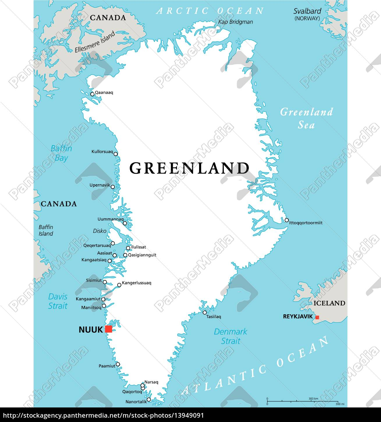 Greenland Political Map Royalty Free Image 13949091