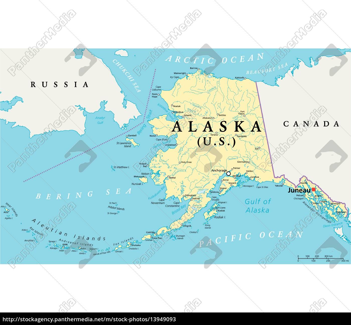 Alaska Political Map Stock Photo 13949093 Panthermedia Stock