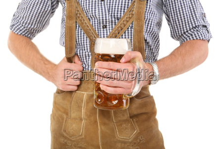 man in costume with beer mug