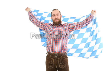 man in costume with banner