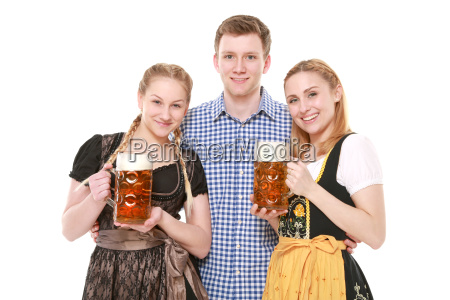 group in tracht me beer jug