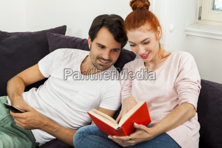 young couple in the living room