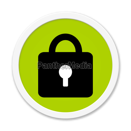 round green button with lock symbol