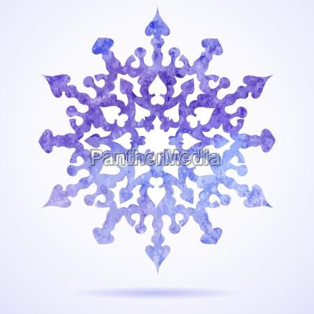 watercolor blue painted christmas snowflake