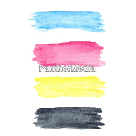 cmyk colors vector watercolor stains